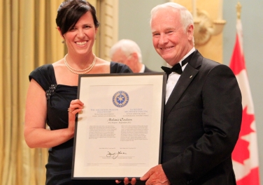 Receiving the Michener-Deacon Fellowship from Canada's Governor General David Johnston. Photo: Jean Levac/Ottawa Citizen