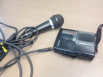 Note the 3-metre cord on the microphone, which was designed for karaoke.