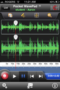 The editing view of the Wavepad app