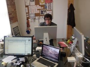 Duncan Clark at his workspace at Postmedia labs