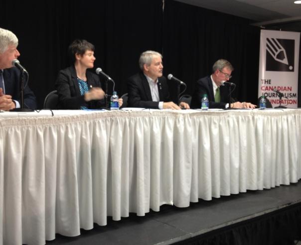 Moderator Chris Waddell, NDP MP Megan Leslie, Liberal MP Marc Garneau and Ottawa mayor Jim Watson