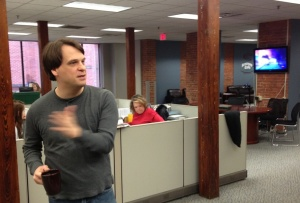 DeRienzo explains his open newsroom concept.